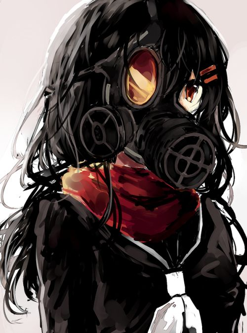 73 best mask images on pinterest gas mask drawing anime - Anime girl with gas mask ...