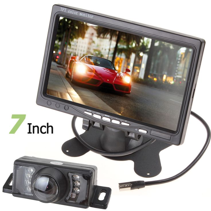 New 234 X 480 7 Inch Color TFT LCD Rear View Auto Parking Monitor 7IR Lights Night Vision Reversing Car Backup Camera
