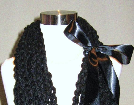 BLACK FASHION SCARF Handmade Crochet Dark Chain by marianavail, $35.00Fashion Scarves, Tecido Acessórios, Handmade Crochet, Fios Tecido, Crochet Dark, Black Fashion, Dark Chains, Scarf Handmade, Fashion Scarf