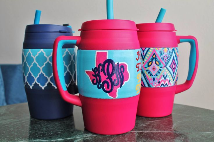 Custom Hand Painted Bubba Mugs - By The Bells on Etsy - #BubbaKeg #BubbaMug #texas #ombre #LillyPulitzer #monogram #springbreak #paintedcooler