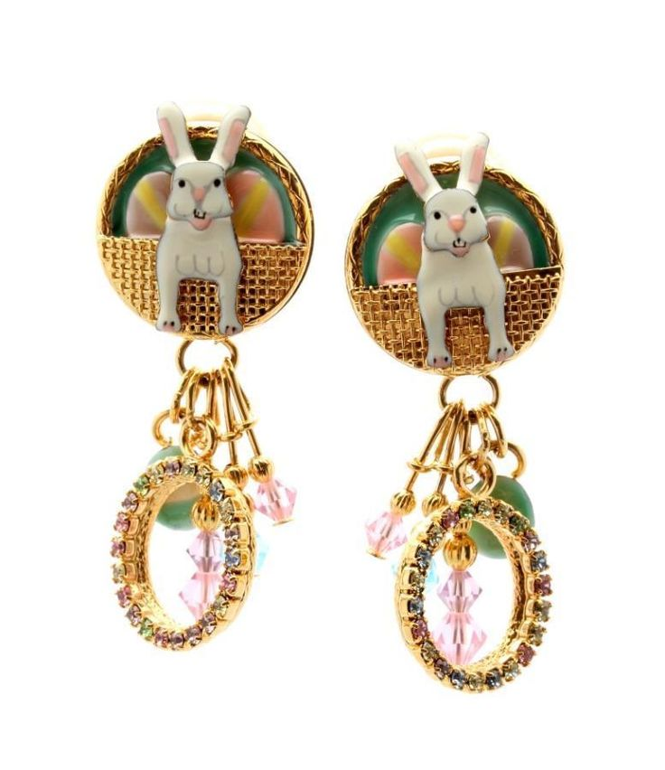 Lunch at the Ritz Vintage Bunny Biscotti Clip Earrings NEW #LunchattheRitzVintage