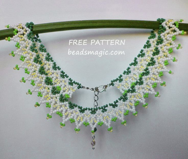 Free pattern for necklace Green Notes U need: seed beads 11/0