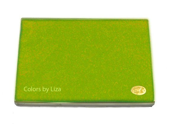 Accordion Wallet with Organizer Hand Painted Enamel Metal Wallet Teal Lime Green…