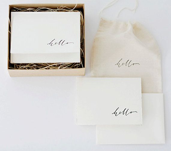 Hand-printed calligraphy hello stationery set