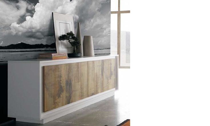 Buffet blanc laqué mat et bois contemporain COLORADO