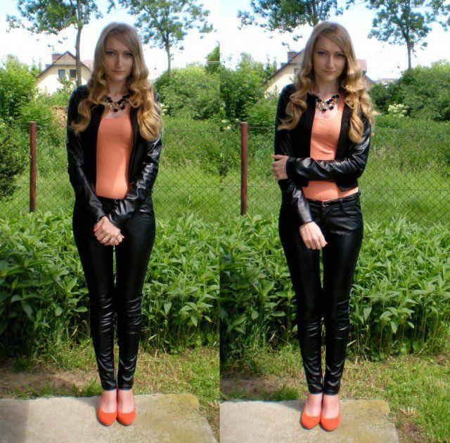 Stylizacja Orange & Black - Żakiet Mosquito, Skórzane spodnie H&M, Naszyjnik H&M, Szpilki Fleq.pl