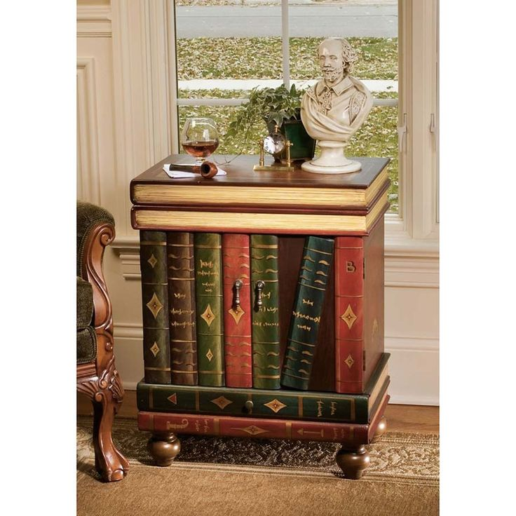 """This distinctive piece will speak volumes of your style and of your love of literature! Our Toscano-exclusive trompe l'oeil side table """"fools the eye"""" with its intricately hand-painted volumes that cr"""