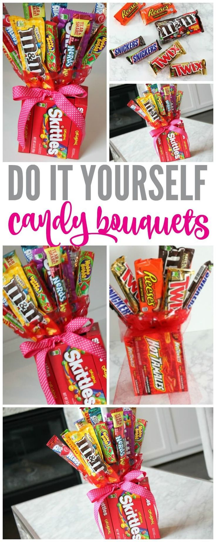 Make Your Own Candy Bouquets for Valentines Day, Fathers Day, Mothers Day, Birthday Parties and more! The Perfect Gift for the person that has everything!