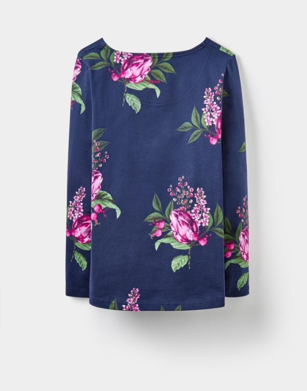Joules Harbour Print Jersey Top Shirt in French Navy Artichoke Floral
