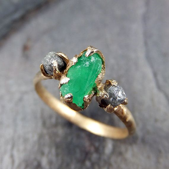 This doesn't have to be an engagement ring.  It is simply glorious, and I'd wear it every day!  Three raw Stone Diamond Emerald Engagement Ring 14k Gold Wedding Ring Uncut Birthstone Stacking Ring Rough Diamond Ring byAngeline