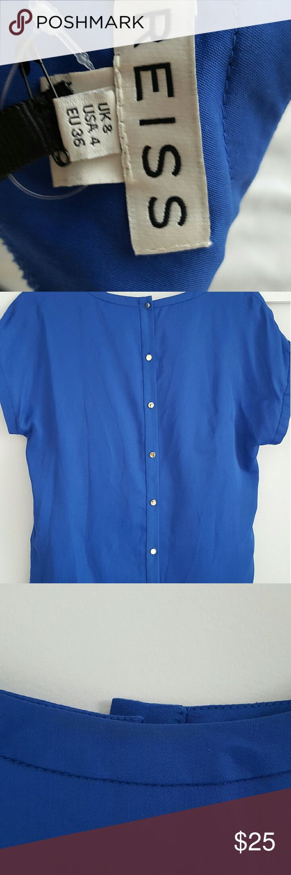 Reiss Elissa blue cobalt back button top size 4 In great condition nwt but bought in sake for 72 because had a'  tired' feel on the neck probably from fitting room in shop.  I tried to photograph it but it's so vague it's doesn't come up and I can barely see it. Reiss Tops Blouses