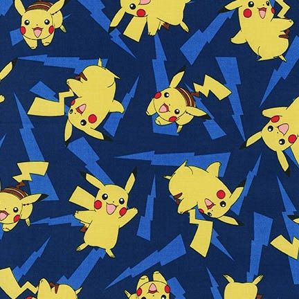 Pokemon Fabric, Pikachu on Blue Kaufman fabric, 16213-4 Blue / 1 Yard Cuts 1/2 Yard Cuts / Robert Kaufman by SewWhatQuiltShop on Etsy
