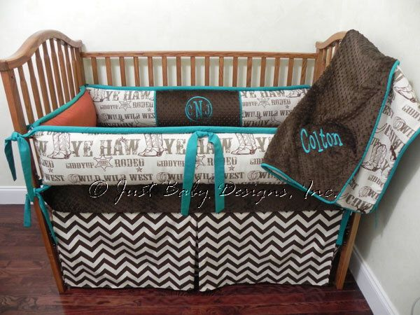 Custom Baby Bedding Set Colton w/ Brown Chevron by BabyBeddingbyJBD on Etsy https://www.etsy.com/listing/161221150/custom-baby-bedding-set-colton-w-brown