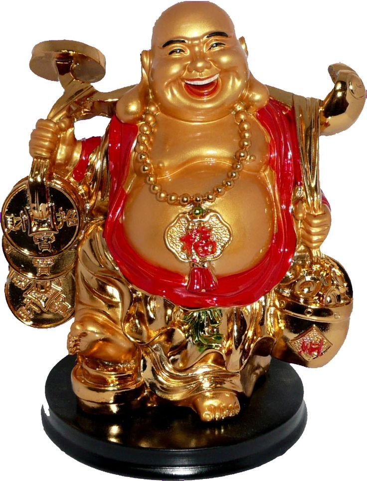 Buda Capa Roja con Monedas, Ligontes, y Ruyi y simbolo Fu.