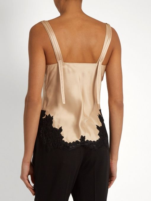 Helmut Lang Lace-trimmed satin cami top