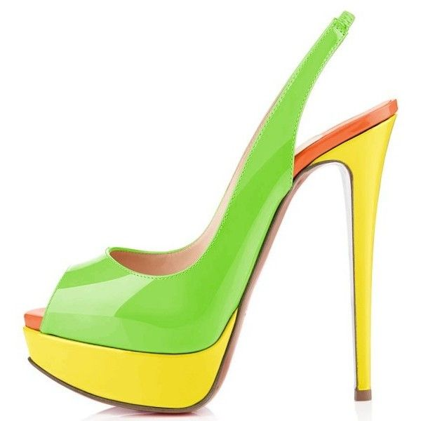 Women's Green and Yellow Women's High Heel Shoes Elegant Slingback... ($70) ❤ liked on Polyvore featuring shoes, pumps, high heel pumps, slingback shoes, high heel shoes, high heel slingback shoes and high heel slingback pumps