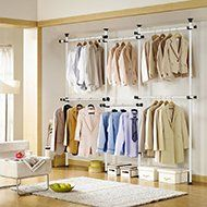 Portable Indoor Garment Rack Tools-free DIY Coat Hanger Clothes Wardrobe 4 Poles 6 Bars. Heavy Duty Stainless Steel Poles and Bars. 60kg Loading per Horizontal Bar. Free 105cm Reach Hook Included. Space Fit and Saver.[3206] - HomeGoodsReview