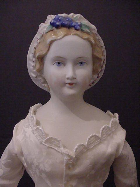 "Parian lady ""The Grape Lady"" with grapes and leaves on front of head, from mintonsdollandcuriosityshop on Ruby Lane"