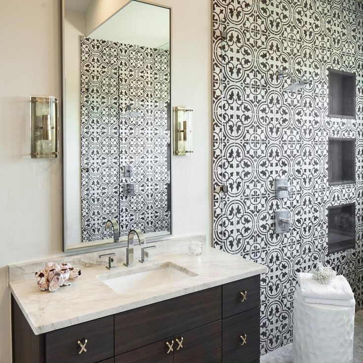 Gorgeous Bathroom Design With Roseton Cement Tile By Clay Imports.