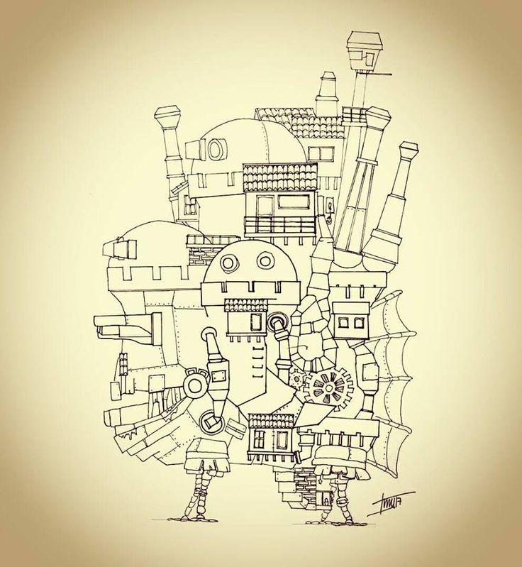 Planimetria, elevación- vista lateral oeste. Howl no Ugoku Shiro / ハウルの動く城 / El castillo ambulante -Studios Ghibli- (camiconcas /arq_cfcc)