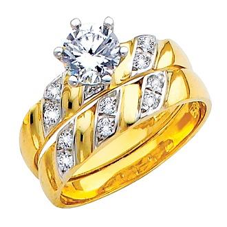 Anillo de Compromiso / Matrimonio 14K 4.5 gr. Anillo de Compromiso y Banda matrimonial para dama. Oro Amarillo con detalles de oro blanco decorado con CZ. Matrimonio