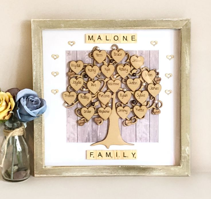 80th Wedding Anniversary Gift: Large Engraved Family Tree. Golden Wedding Anniversary