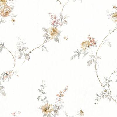 "Norwall Wallcoverings Inc Silk Impressions 32.7' x 20.5"" In Reg White Wedding Trail Wallpaper Color: Cream / Grey"