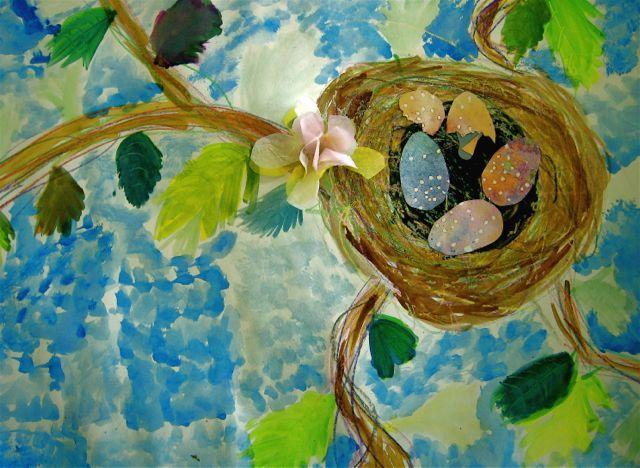 3rd grade: bird nest: mixed media
