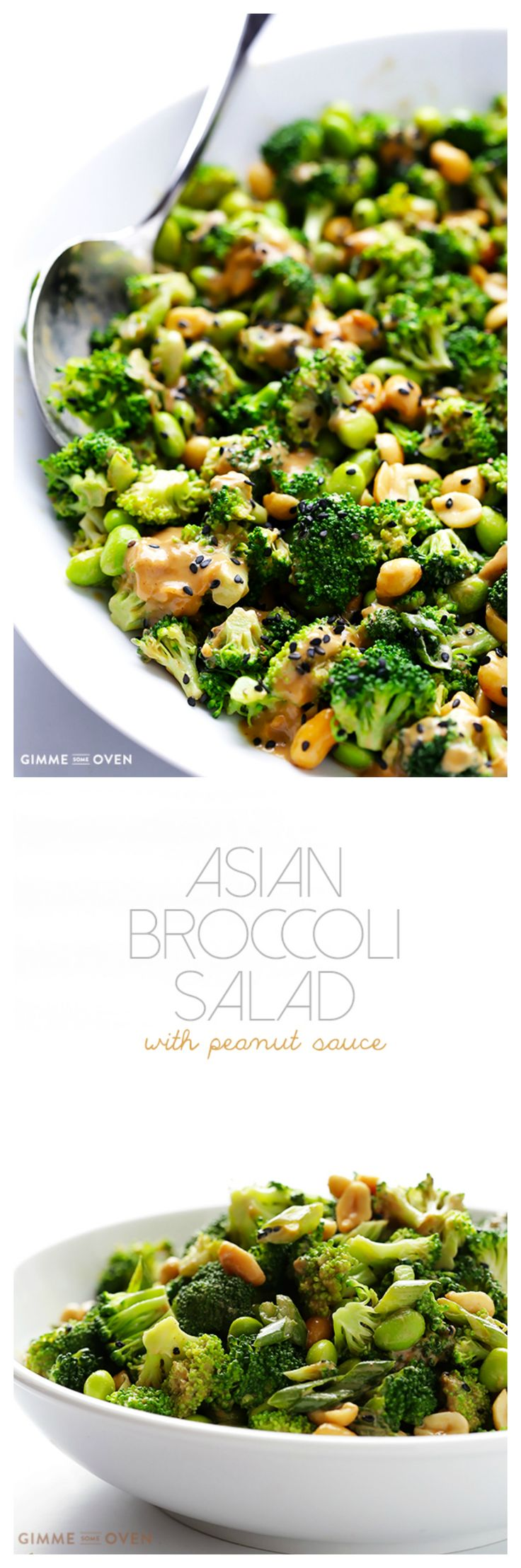 Asian Broccoli Salad with Peanut Sauce -- made easy with just a few ingredients, and naturally glutenfree, vegan, and SO tasty! | gimmesomeoven.com
