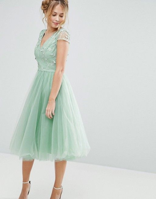 Chi Chi London Tulle Midi Dress With Embroidery - Seafoam / mint green
