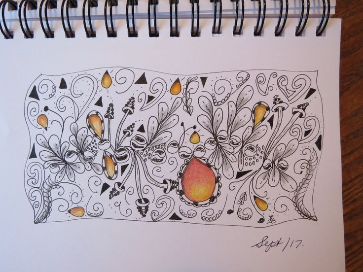 Experimenting with Zentangle Patterns and colored pencil gems.