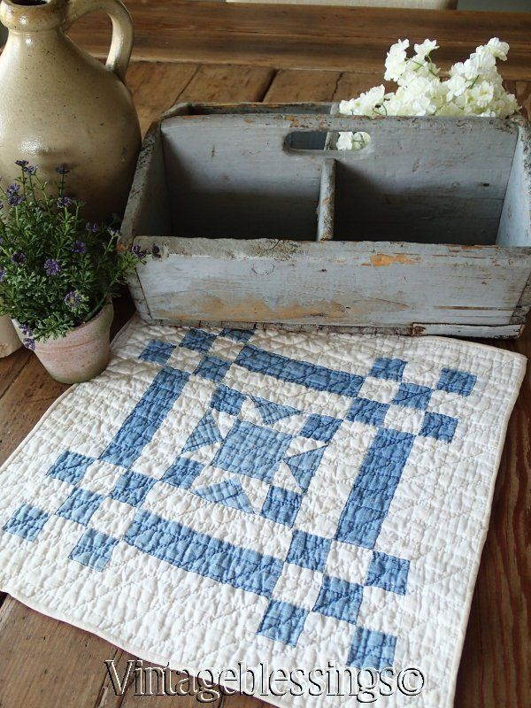 $34 Prim Country! Antique 1880s Blue & White Doll or Table Quilt 13x13 www.Vintageblessings.com