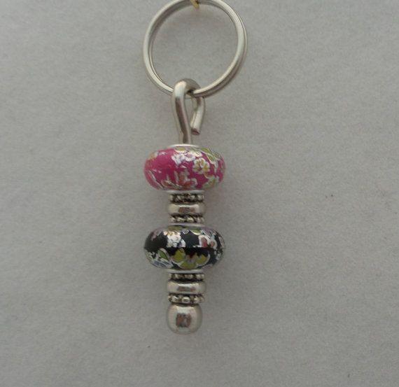Pink and Black Key Ring by JoycesCustomGems on Etsy, $17.99