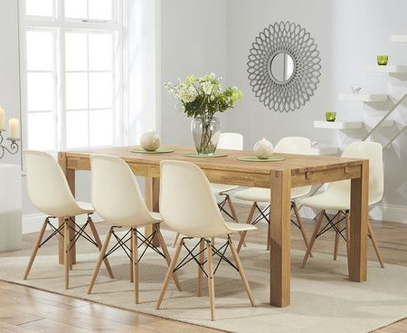 Verona 180cm Solid Oak Extending Dining Table with Charles Eames Style DSW Eiffel Chairs