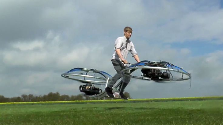 An amateur backyard inventor has created a functional 'hoverbike' that looks alarmingly like a flying blender.