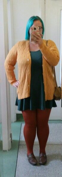 Charity shop cardigan. Old New Look skater dress. Tights recently from Primark! #autumn #work #plussize