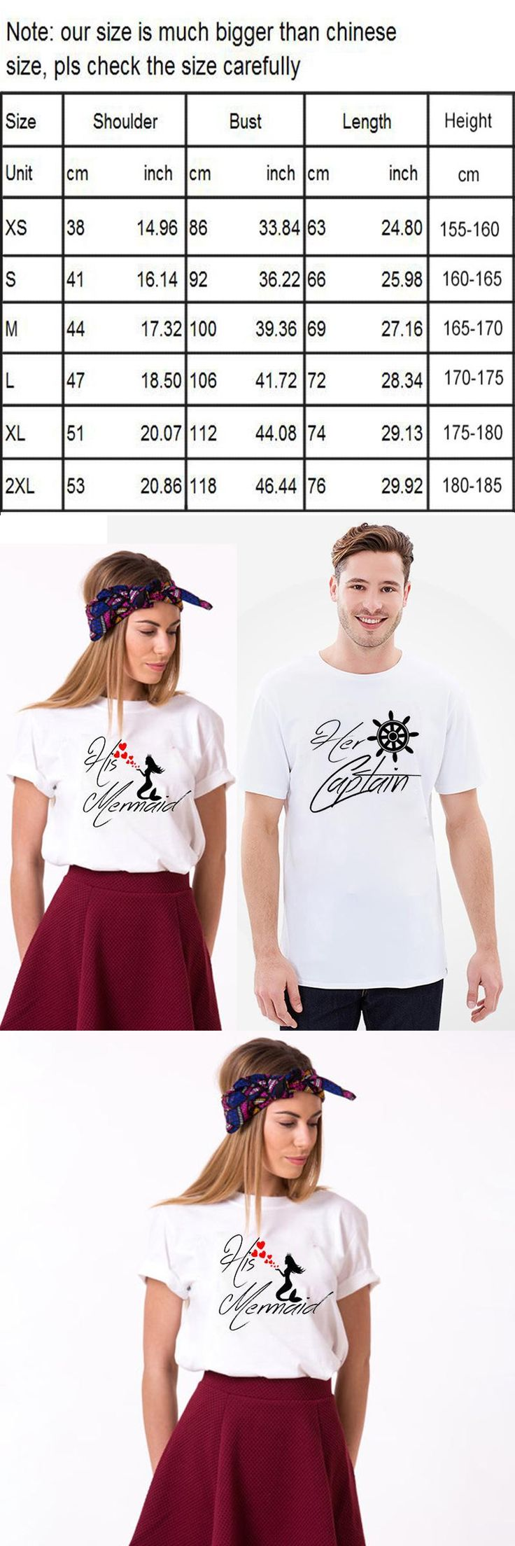 EnjoytheSpirit Matching Tshirts MR. and MRS. Tshirts for Couples Her Captain His Mermaid T-shirts Set Love Couple Tees