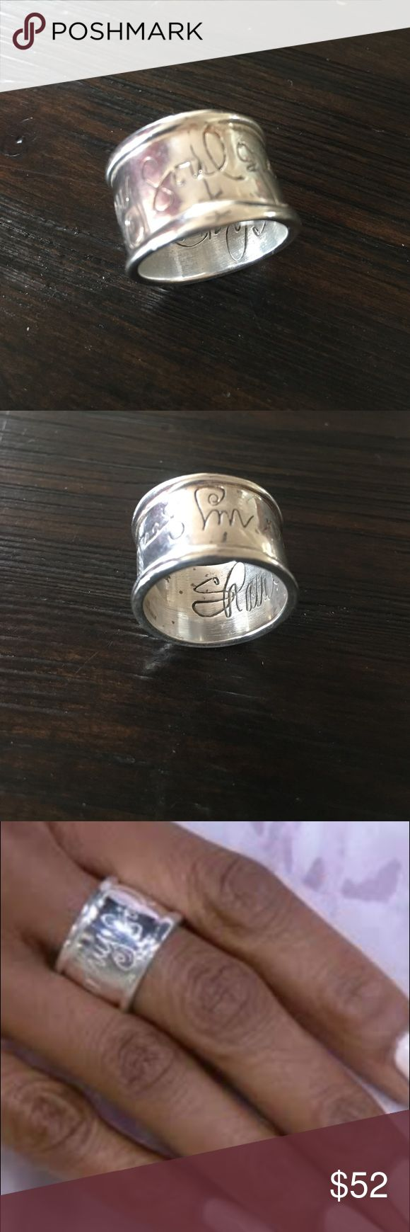 """Hear my soul speak sterling ring Qvc wide sterling band designed by Shawn Killinger, sells for $99.00 and was purchased at QVC.  This ring is sterling sliver and inscribed with the phrase """"hear my soul speak"""" and Shawn Killinger signature inside.  The ring is WIDE and this might require you size up. Worn only a few times qvc Jewelry Rings"""