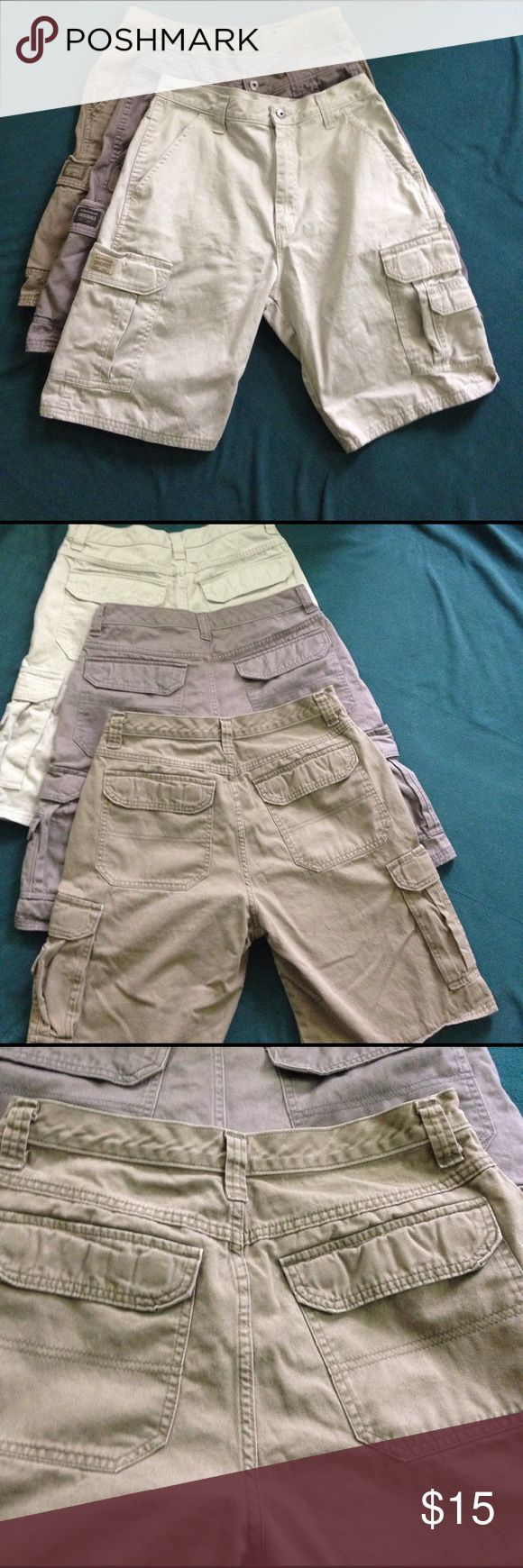 Bundle of 3 EUC mens cargo shorts EUC! Each pair only worn once or twice. No stains, holes or rips. Lots of pockets to securely hold all of your stuff! Smoke-free home. 🌺 I offer a 15% discount when you bundle 2 or more listings!🌺 Wrangler Shorts Cargo