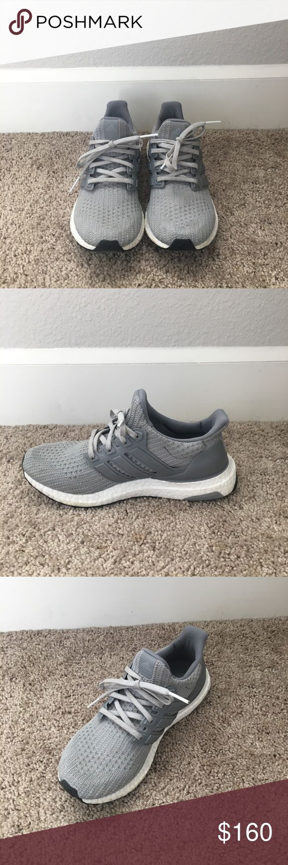 Gray adidas ultra boost shoes // women's running basically brand new  barely worn NO wear and tear at all  no scuffs or marks  very stylish  grey athletic / running shoes  very comfortable great for both working out and casual daily wear adidas Shoes Athletic Shoes