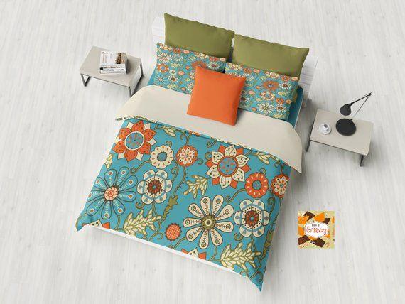 Retro Duvet Cover Funky Duvet Cover Groovy Duvet Cover Flower Duvet Cover Modshowercurtain Retrosho Retro Home Decor Duvet Sets Mid Century Modern Pillows