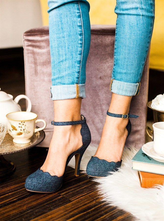 Scalloped 3 Inch Heels 3 Colors Zapatos Cipok Es Divat
