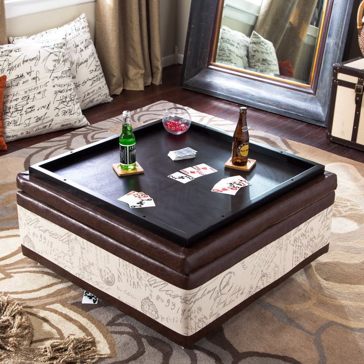 Armen Living Corbett Leather and Linen Coffee Table Storage Ottoman - Coffee Tables at Hayneedle