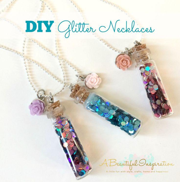 DIY Glitter Necklace! Such a cute idea and makes a great gift! #diy #glitternecklace #necklace