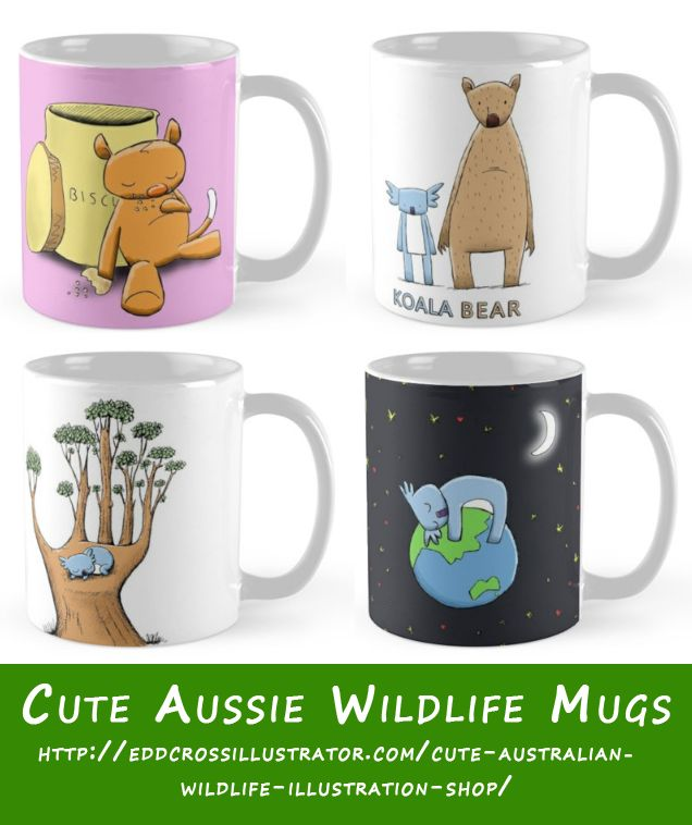 Another awesome product that I like are the mugs. I think my cute illustrated Australian wildlife designs look really cool on a mug - what do you reckon?  The attached image showcases mugs from my RedBubble shop featuring my adorable koala and possum characters.