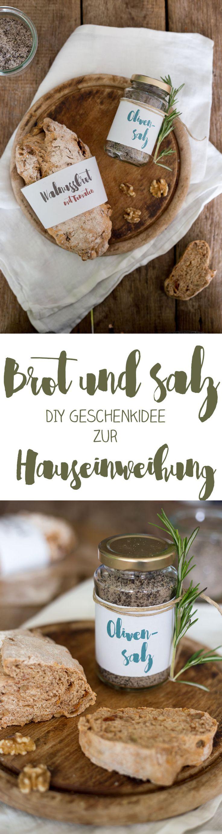 Geschenkidee zur Hauseinweihung: DIY Olivensalz mit Brot selbermachen - Anleitung und Printable auf Kreativfieber
