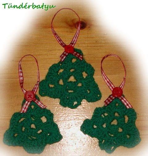 Crocheted green pine Christmas tree decorations