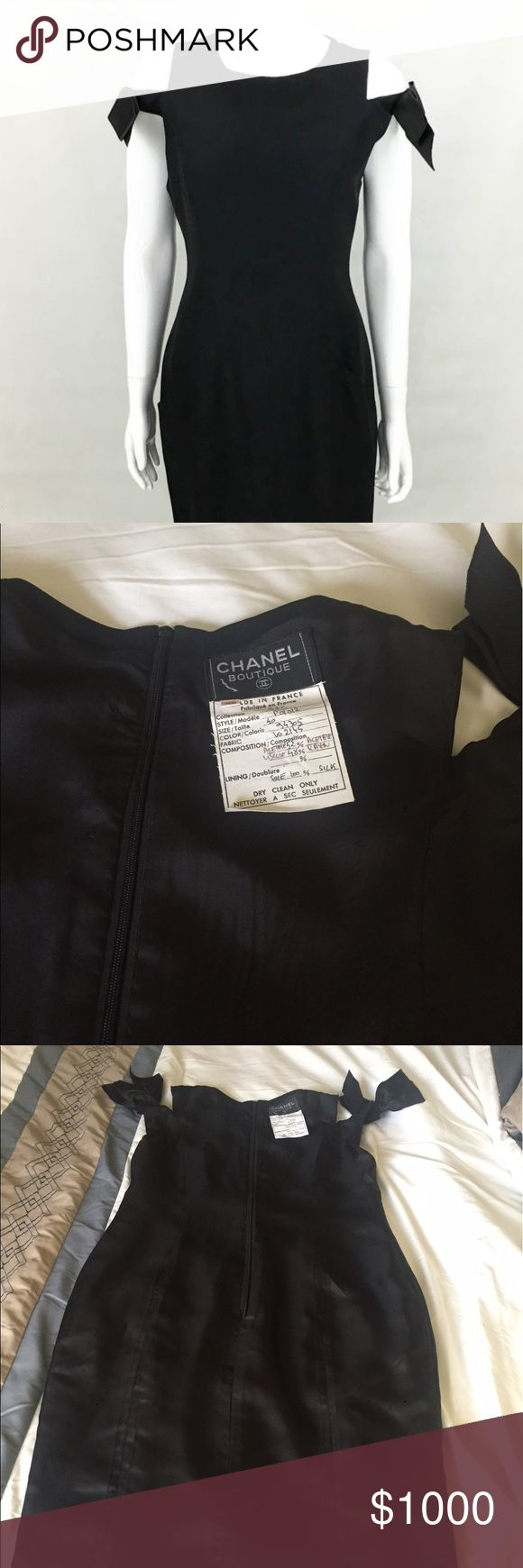 The dress is chanel - Vintage Chanel Black Silk Dress