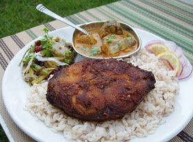 Sizzling Indian Recipes.....: Oven broiled King Mackerel Steak, Green & Wax beans stir fry with Cranberries, Basil and fresh coconut -- served with Kerala Matta rice & King mackerel curry -- Fish special Indian Sunday lunch.