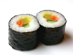 Japan - Sushi: What we need for a Makisushi roll: – Sushi rice (Meshi) – Seaweed (nori) – Salmon / Cucumber / Carrots / other fish or filling – Rice Vinegar – Soya sauce – Wasabi – Sushi mat (made out of bamboo)